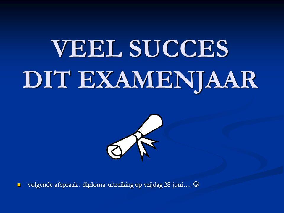 VEEL SUCCES DIT EXAMENJAAR