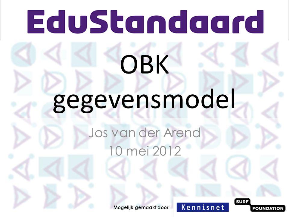 OBK gegevensmodel Jos van der Arend 10 mei 2012
