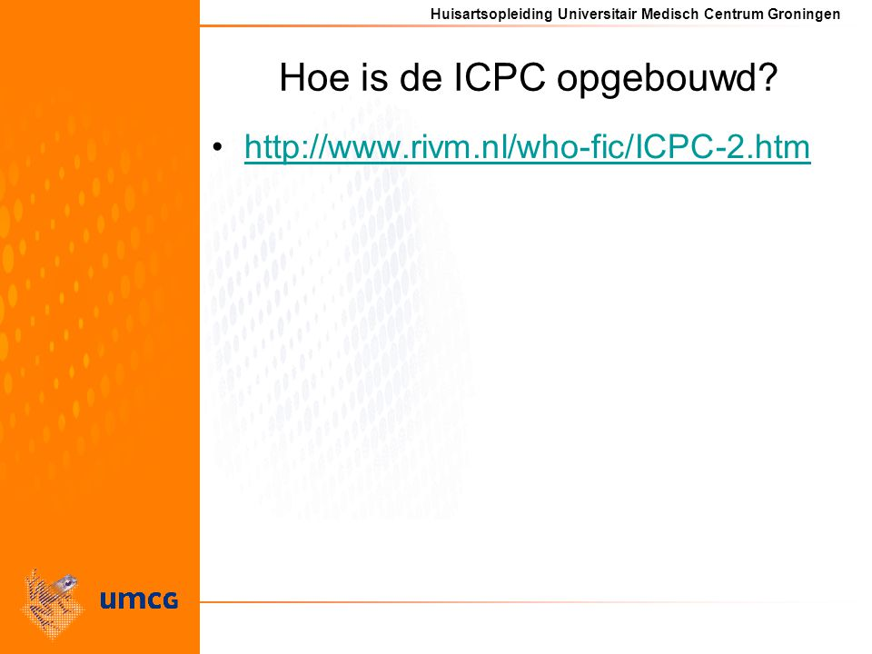 Hoe is de ICPC opgebouwd