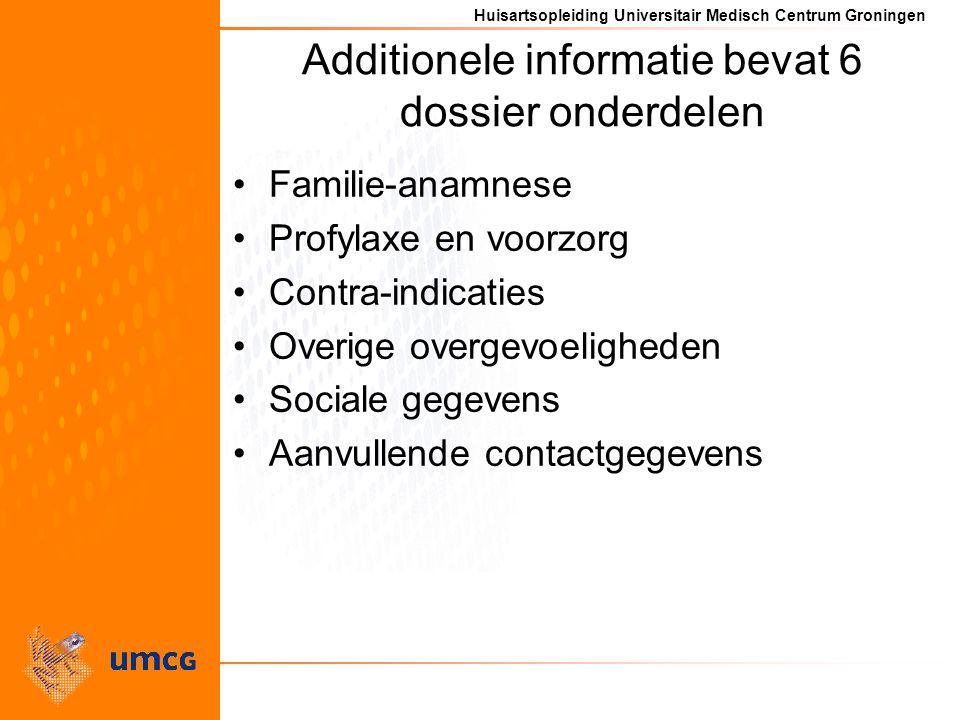 Additionele informatie bevat 6 dossier onderdelen