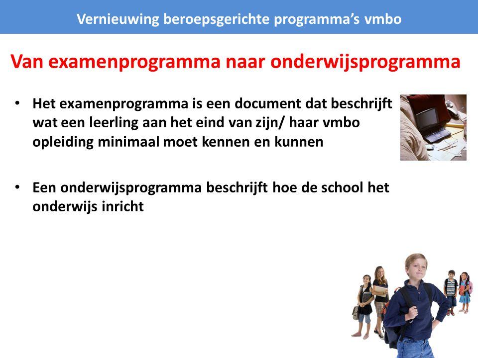 Van examenprogramma naar onderwijsprogramma