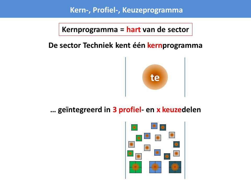 te Kern-, Profiel-, Keuzeprogramma Kernprogramma = hart van de sector