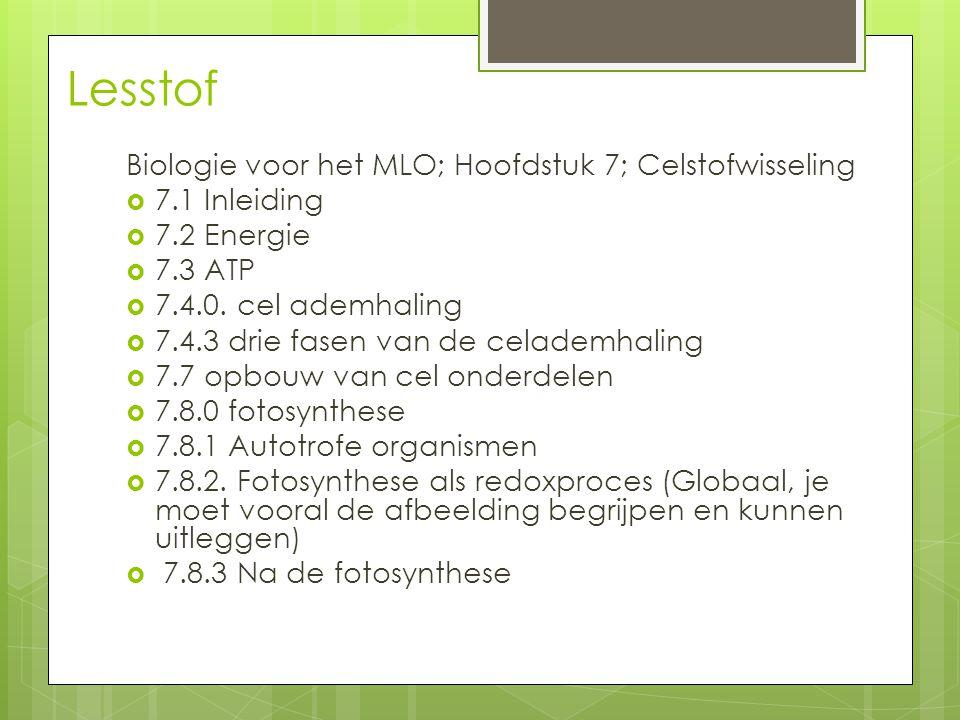 Lesstof Biologie voor het MLO; Hoofdstuk 7; Celstofwisseling
