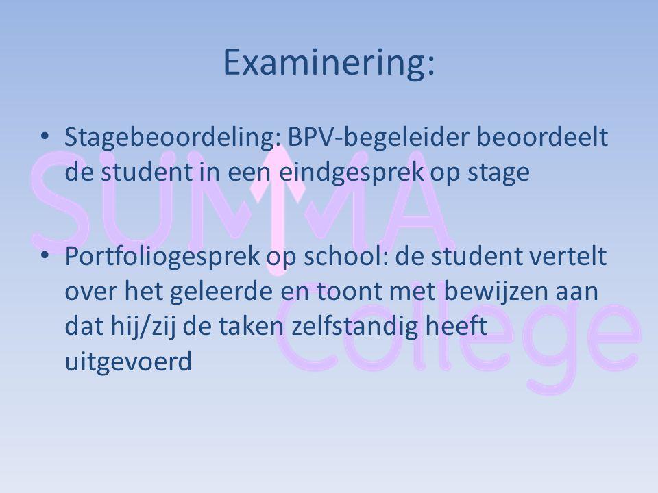 Examinering: Stagebeoordeling: BPV-begeleider beoordeelt de student in een eindgesprek op stage.