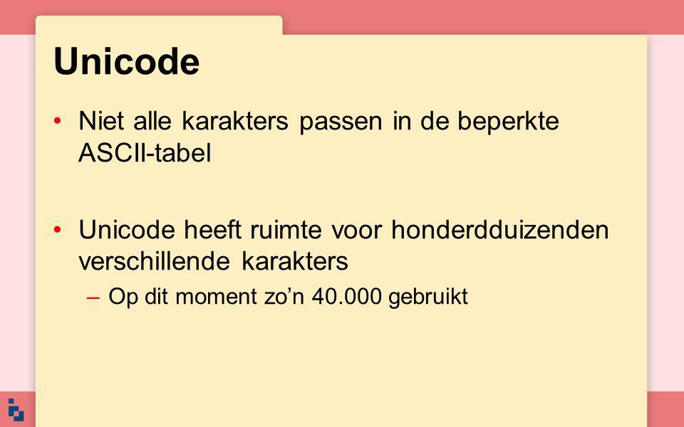 Unicode Niet alle karakters passen in de beperkte ASCII-tabel