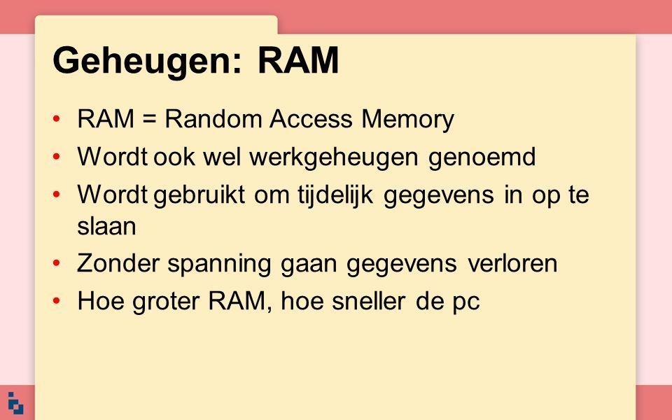 Geheugen: RAM RAM = Random Access Memory