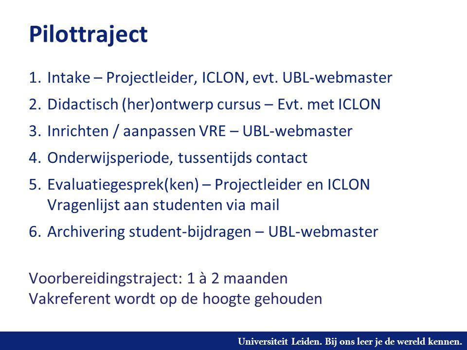 Pilottraject Intake – Projectleider, ICLON, evt. UBL-webmaster