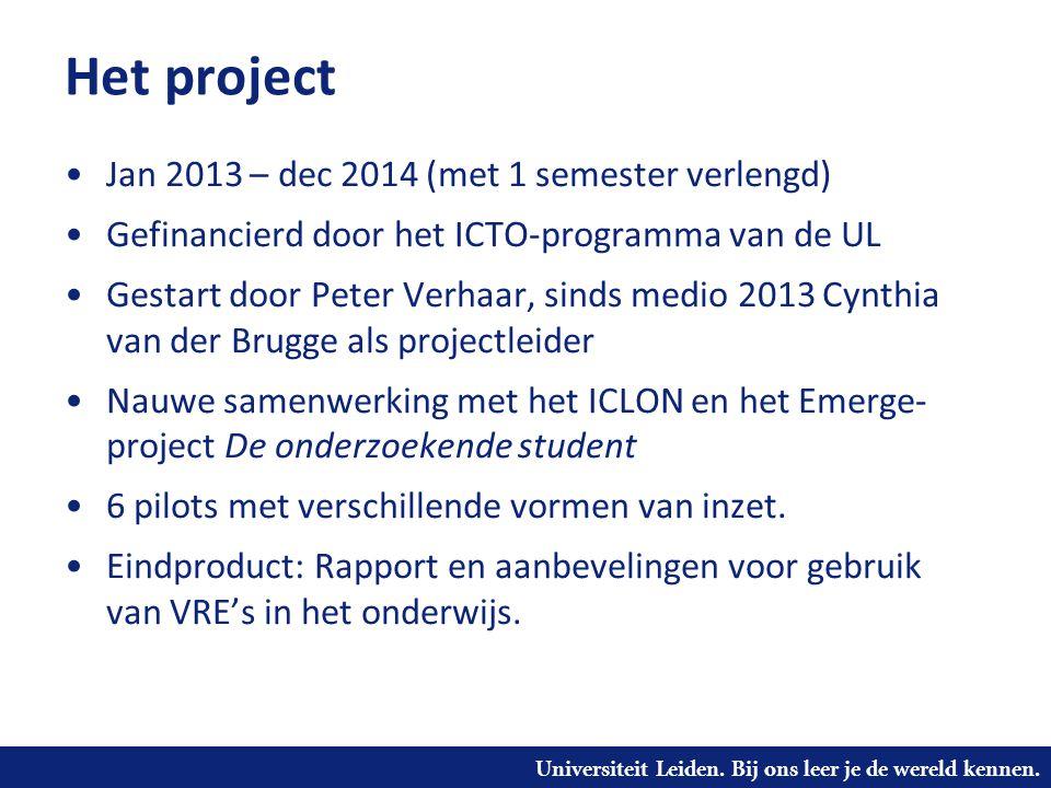 Het project Jan 2013 – dec 2014 (met 1 semester verlengd)