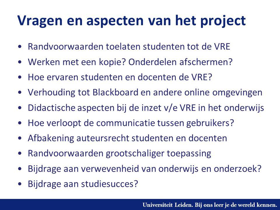 Vragen en aspecten van het project