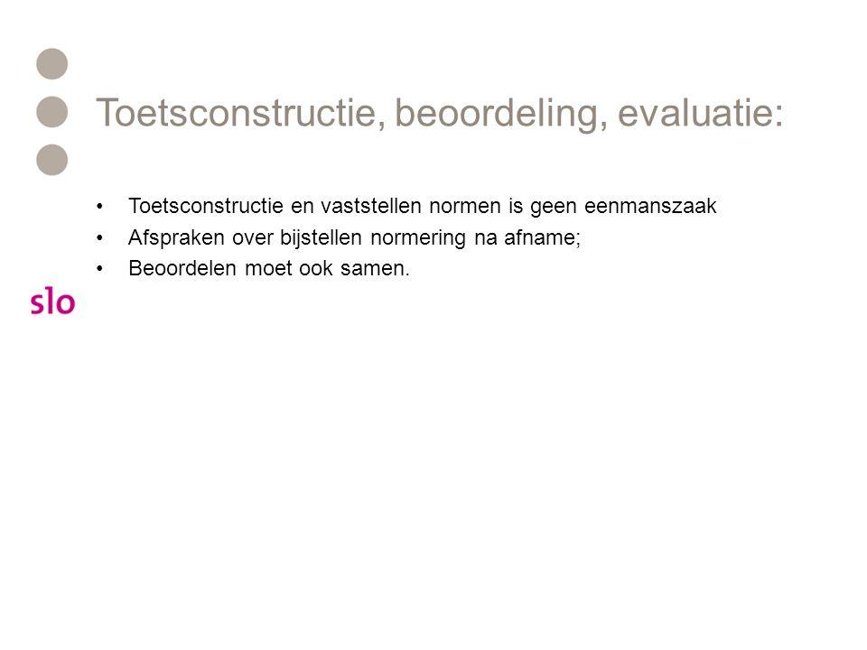 Toetsconstructie, beoordeling, evaluatie: