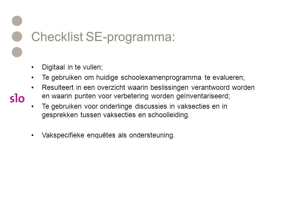 Checklist SE-programma: