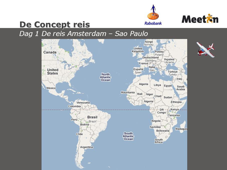 De Concept reis Dag 1 De reis Amsterdam – Sao Paulo