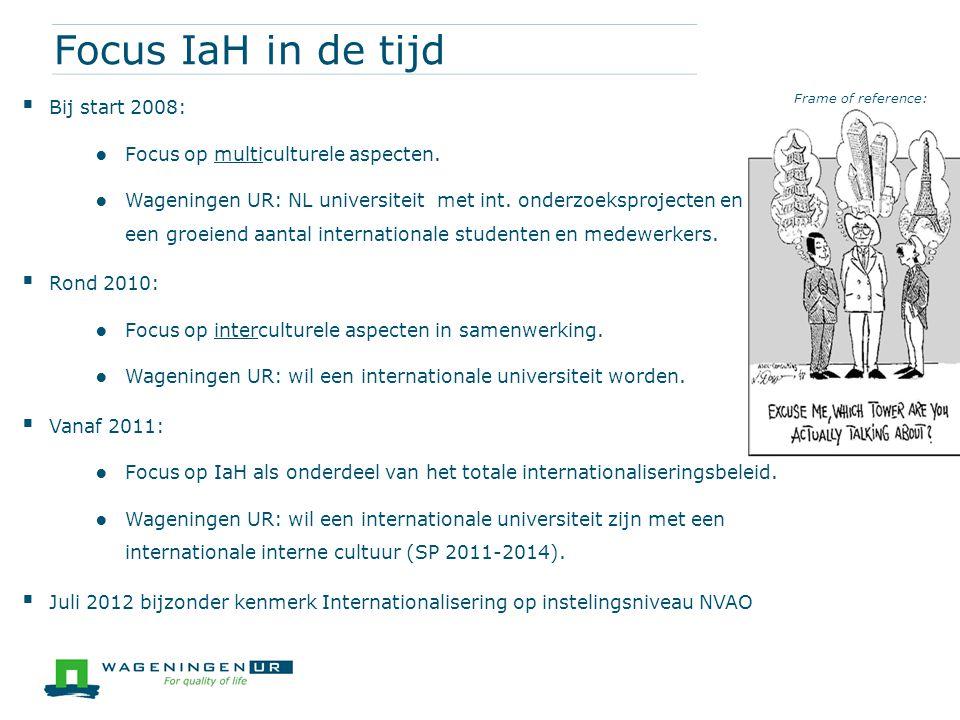 Focus IaH in de tijd Bij start 2008: Focus op multiculturele aspecten.