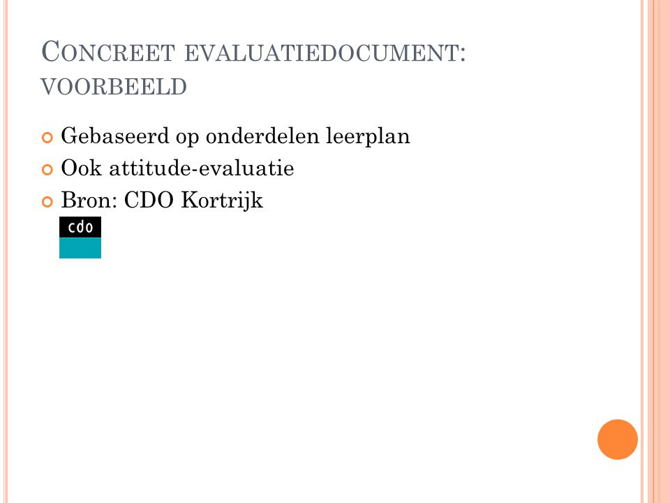 Concreet evaluatiedocument: voorbeeld