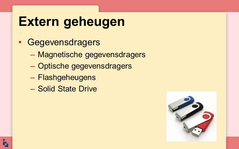 Extern geheugen Gegevensdragers Magnetische gegevensdragers