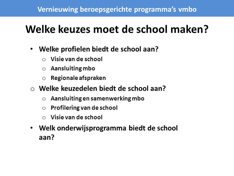 Welke keuzes moet de school maken