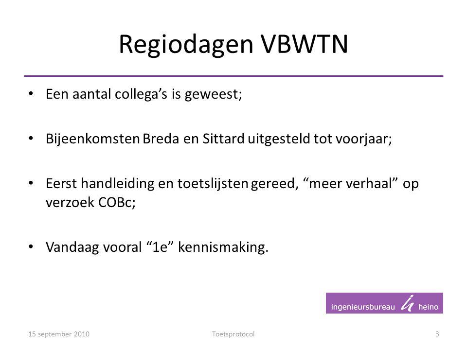 Regiodagen VBWTN Een aantal collega's is geweest;