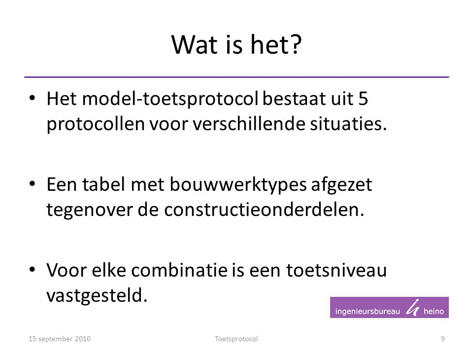 Wat is het Het model-toetsprotocol bestaat uit 5 protocollen voor verschillende situaties.
