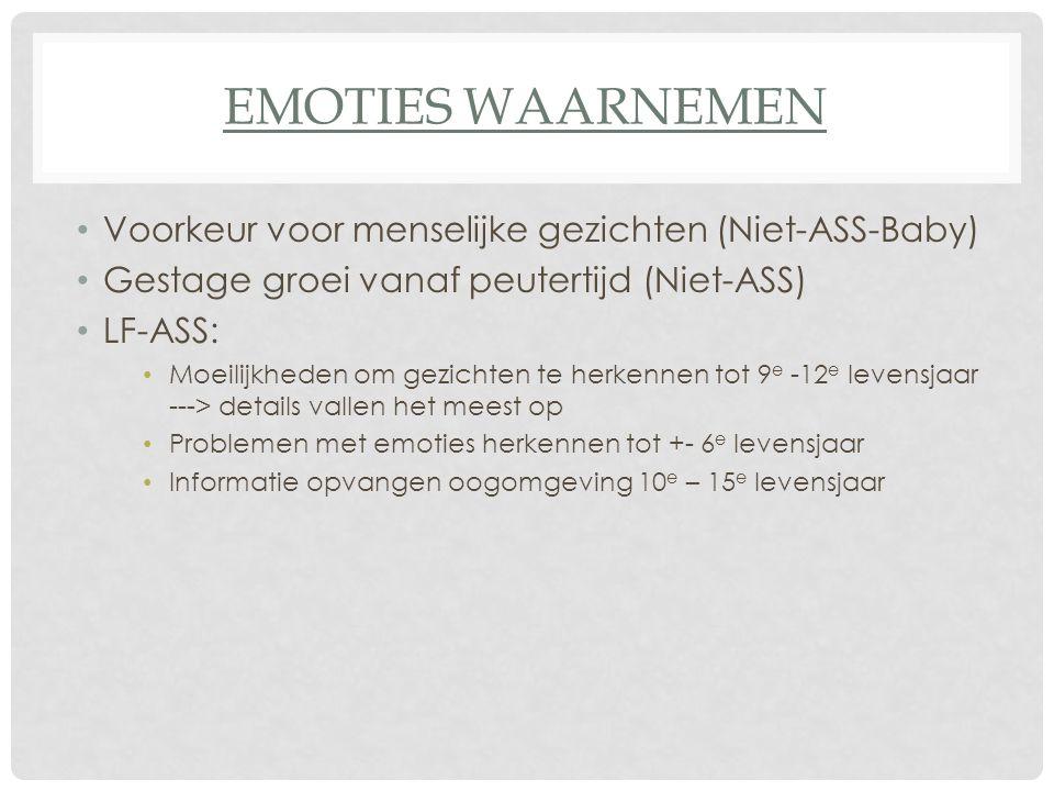 Emoties waarnemen Voorkeur voor menselijke gezichten (Niet-ASS-Baby)
