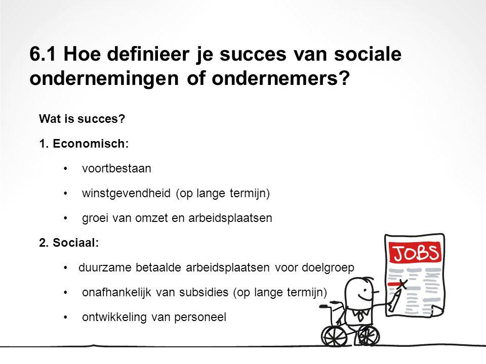 6.1 Hoe definieer je succes van sociale ondernemingen of ondernemers