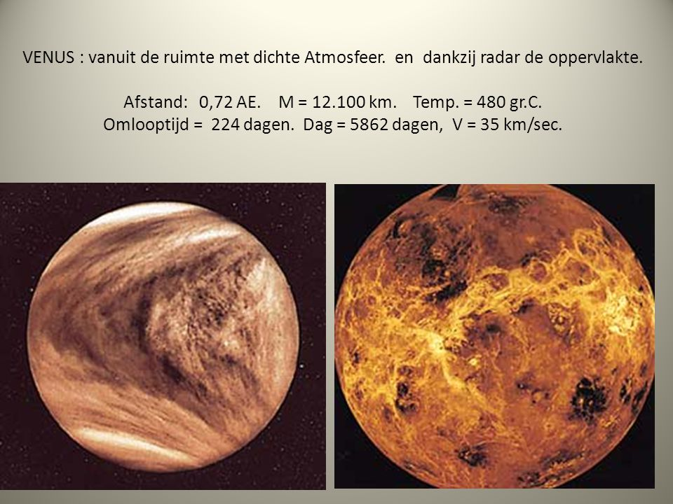 VENUS : vanuit de ruimte met dichte Atmosfeer