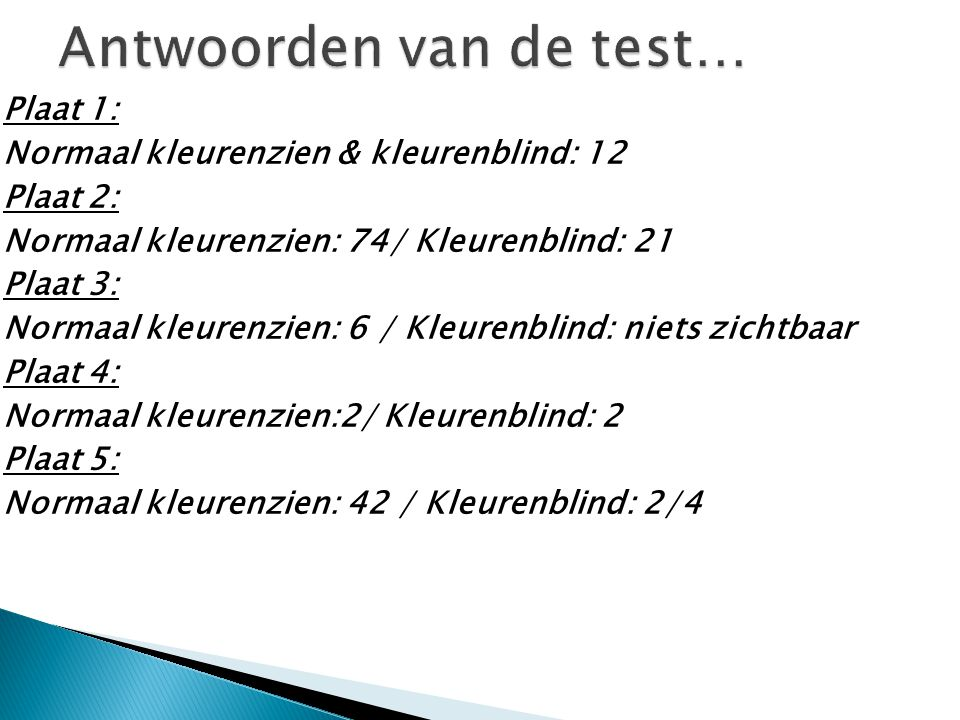 Antwoorden van de test…