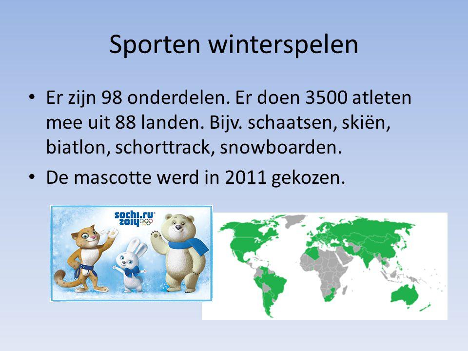 Sporten winterspelen Er zijn 98 onderdelen. Er doen 3500 atleten mee uit 88 landen. Bijv. schaatsen, skiën, biatlon, schorttrack, snowboarden.