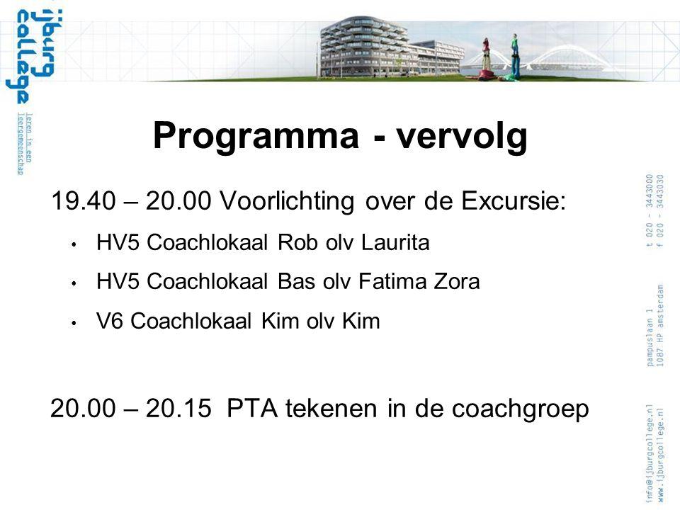 Programma - vervolg 19.40 – 20.00 Voorlichting over de Excursie: