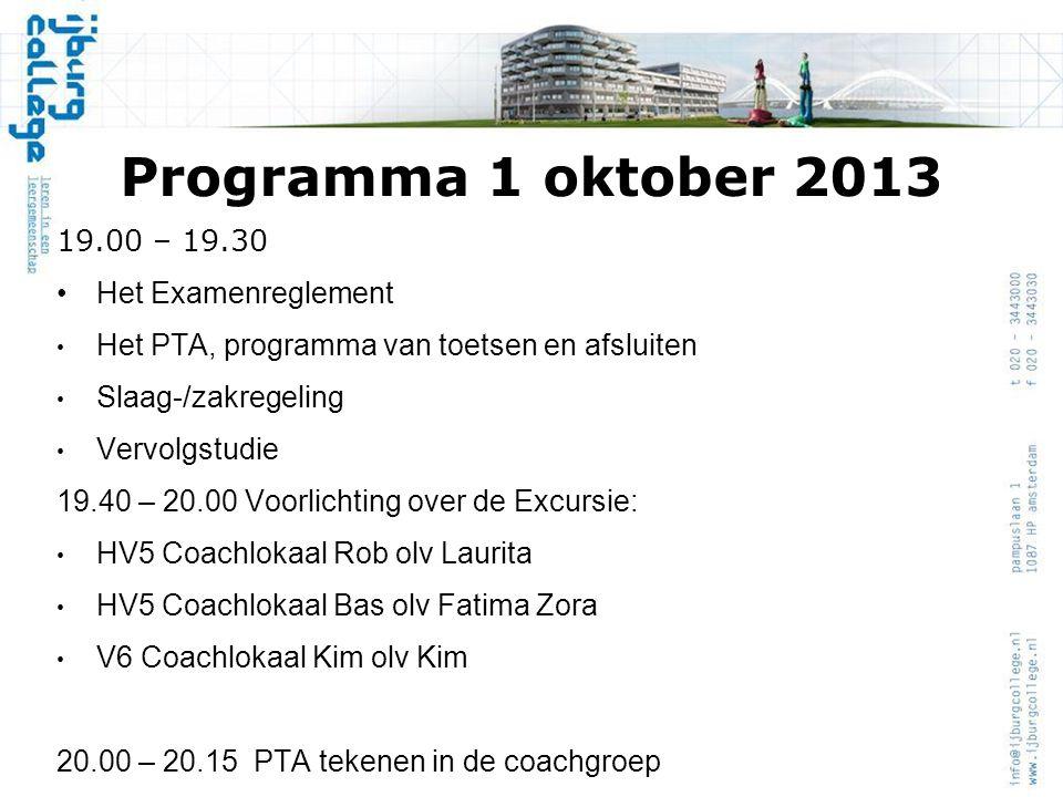 Programma 1 oktober 2013 19.00 – 19.30 Het Examenreglement