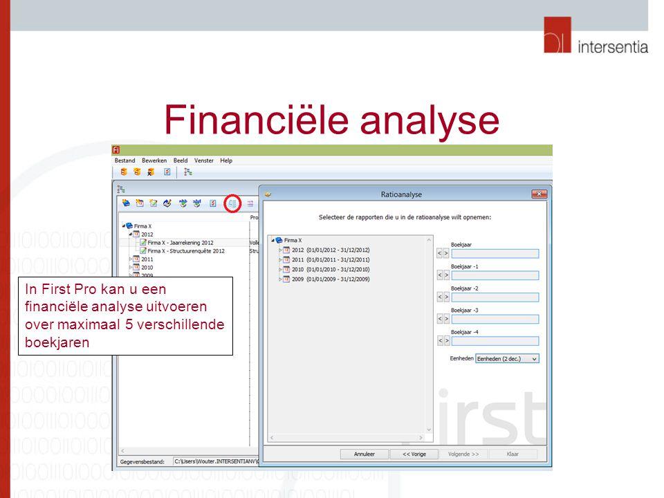 Financiële analyse In First Pro kan u een financiële analyse uitvoeren over maximaal 5 verschillende boekjaren.