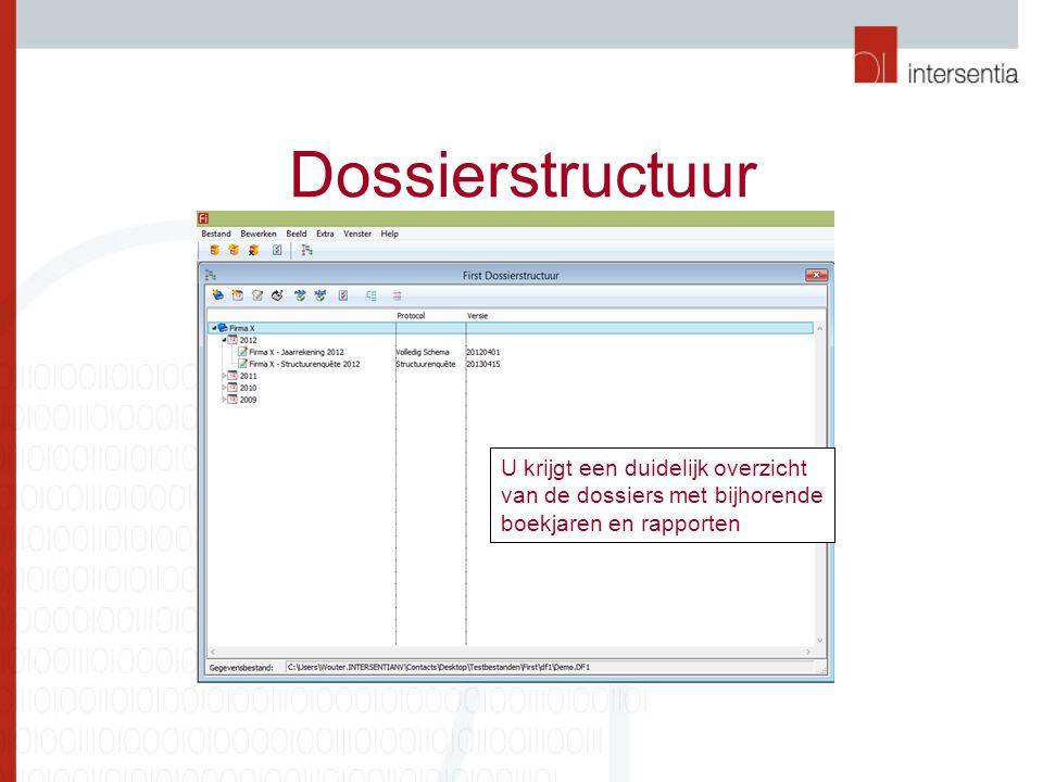 Dossierstructuur U krijgt een duidelijk overzicht van de dossiers met bijhorende boekjaren en rapporten.