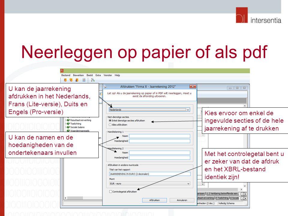 Neerleggen op papier of als pdf