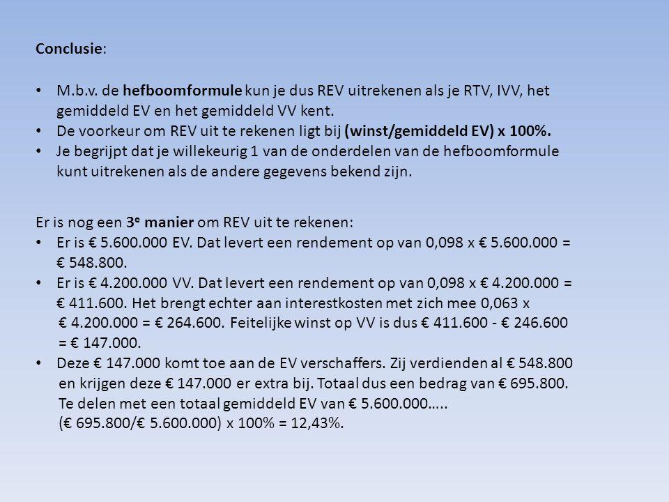 Conclusie: M.b.v. de hefboomformule kun je dus REV uitrekenen als je RTV, IVV, het gemiddeld EV en het gemiddeld VV kent.
