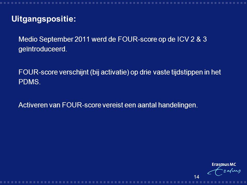Uitgangspositie: Medio September 2011 werd de FOUR-score op de ICV 2 & 3 geïntroduceerd.