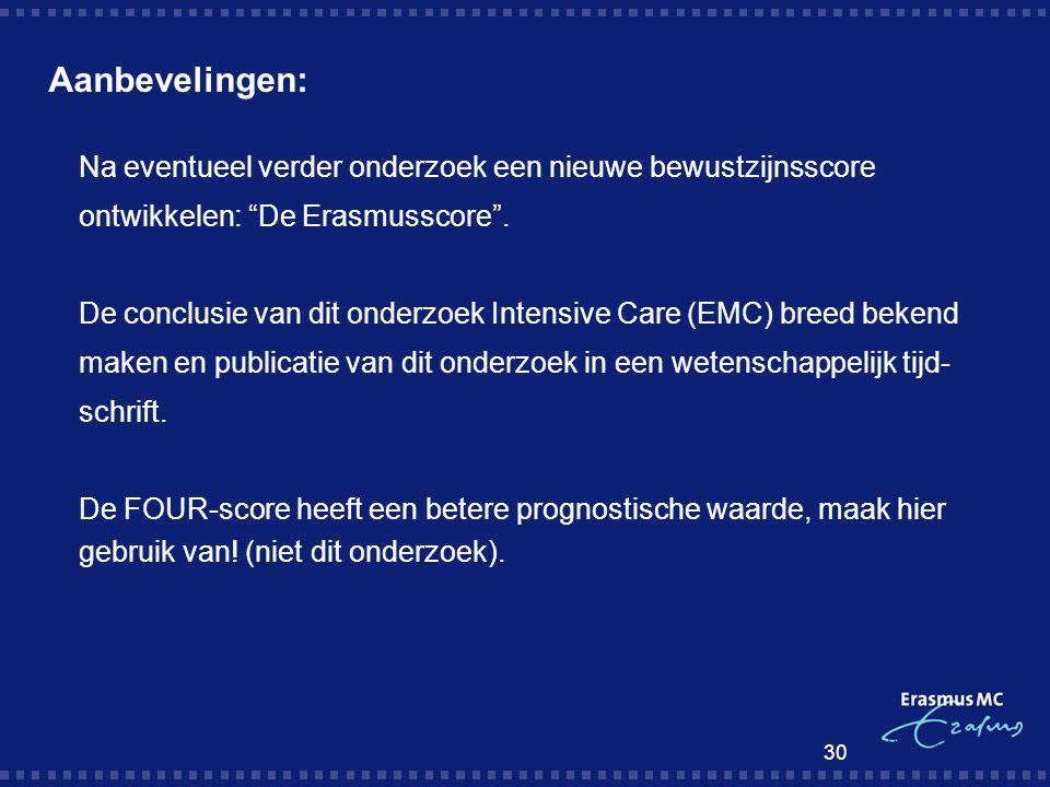Aanbevelingen: Na eventueel verder onderzoek een nieuwe bewustzijnsscore. ontwikkelen: De Erasmusscore .