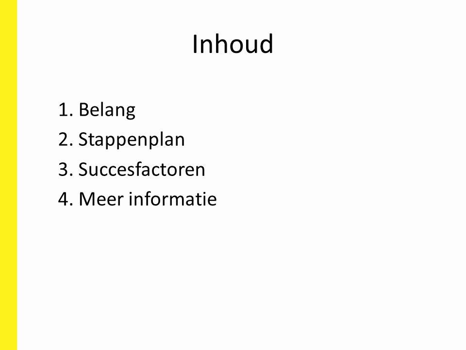 Inhoud 1. Belang 2. Stappenplan 3. Succesfactoren 4. Meer informatie