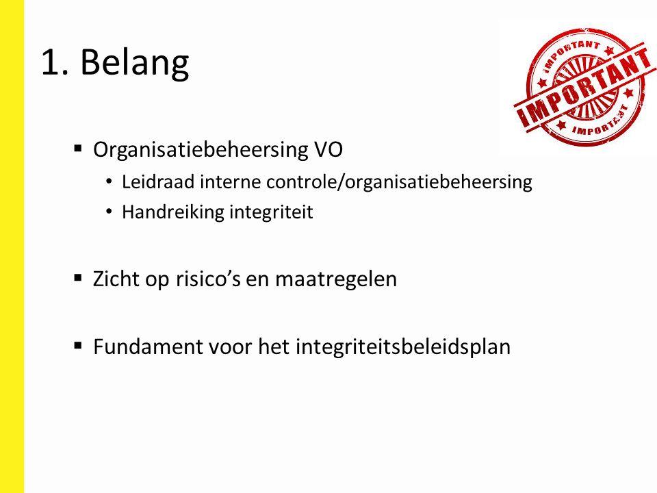 1. Belang Organisatiebeheersing VO Zicht op risico's en maatregelen