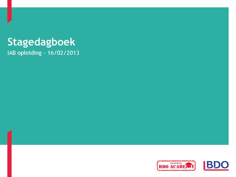 Stagedagboek IAB opleiding - 16/02/2013
