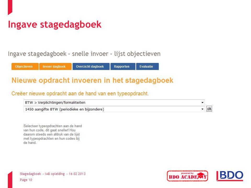 Ingave stagedagboek Ingave stagedagboek – snelle invoer – lijst objectieven