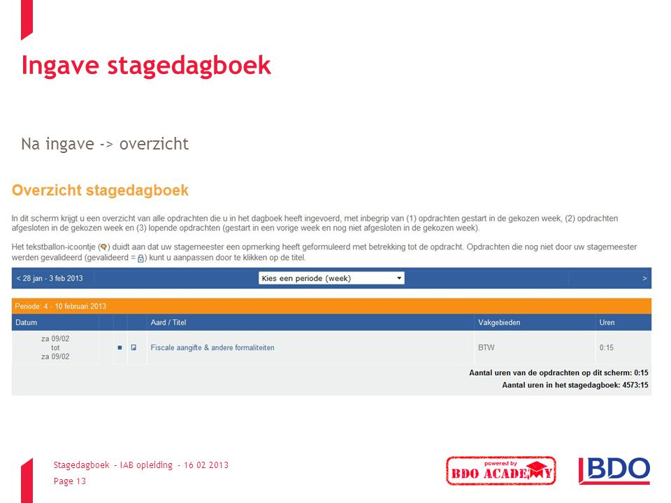 Ingave stagedagboek Na ingave -> overzicht
