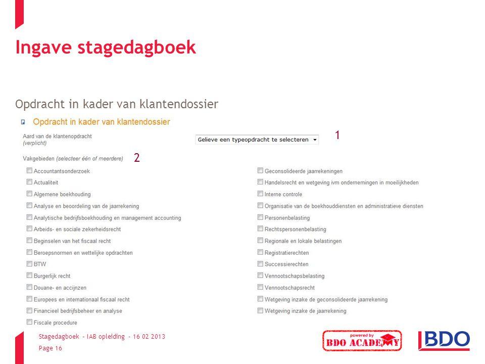 Ingave stagedagboek Opdracht in kader van klantendossier 1 2