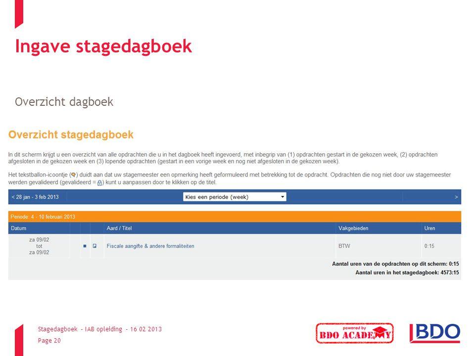 Ingave stagedagboek Overzicht dagboek