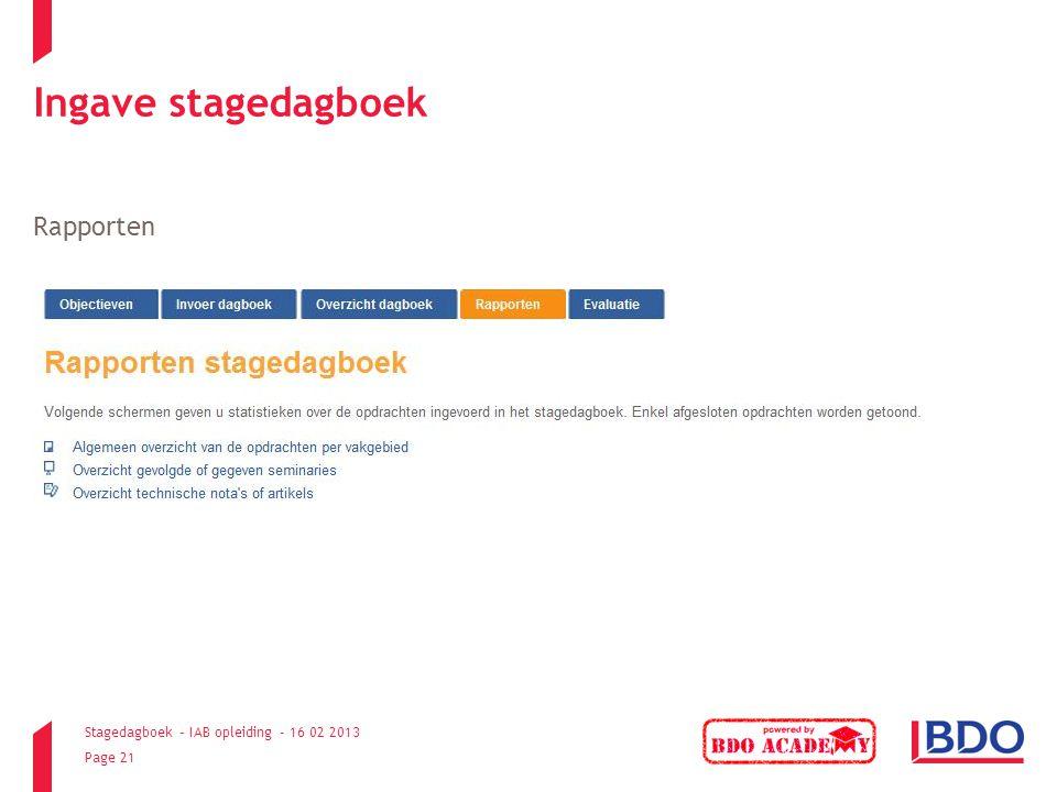 Ingave stagedagboek Rapporten