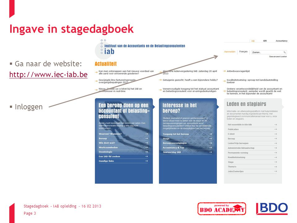 Ingave in stagedagboek