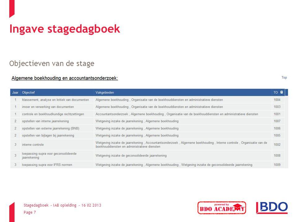 Ingave stagedagboek Objectieven van de stage