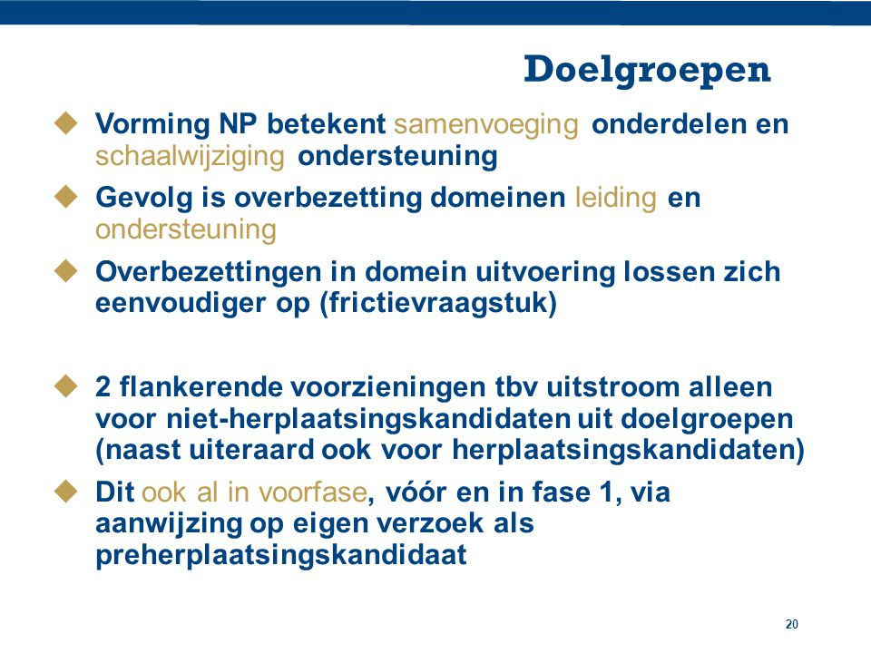 Doelgroepen Vorming NP betekent samenvoeging onderdelen en schaalwijziging ondersteuning.