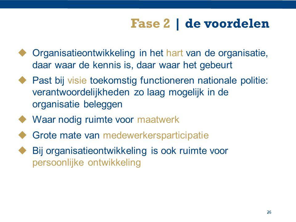 Fase 2 | de voordelen Organisatieontwikkeling in het hart van de organisatie, daar waar de kennis is, daar waar het gebeurt.