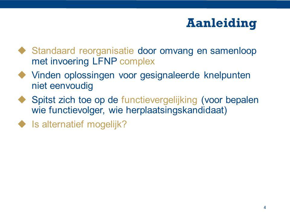 Aanleiding Standaard reorganisatie door omvang en samenloop met invoering LFNP complex.