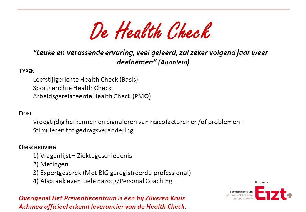 De Health Check Leuke en verassende ervaring, veel geleerd, zal zeker volgend jaar weer deelnemen (Anoniem)