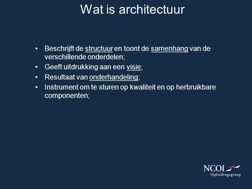Wat is architectuur Beschrijft de structuur en toont de samenhang van de verschillende onderdelen; Geeft uitdrukking aan een visie;